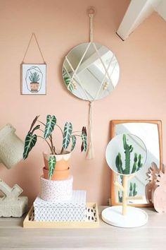 Diy Macrame Mirror – Enter My Attic - Diy mirror Peach Rooms, Peach Bedroom, Peach Walls, Orange Bedroom Walls, Yellow Bedroom Paint, Bedroom Beach, Orange Walls, Decoration Inspiration, Room Inspiration