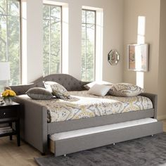 Queen Trundle Bed, Full Daybed With Trundle, Full Size Daybed, Trundle Daybed, Daybed Bedding, Upholstered Daybed, Contemporary Daybeds, Contemporary Fabric, Modern Contemporary