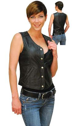 5 Snap Long Leather Vest for Women