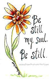 "Floral: Orange Daisy ""Be Still My Soul"" Print"