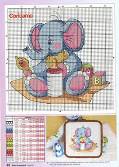 Free Cross Stitch Charts, Disney Cross Stitch Patterns, Cross Stitch Pillow, Cross Stitch Baby, Modern Cross Stitch, Cross Stitch Designs, Elephant Cross Stitch, Crochet Bear, Baby Kind
