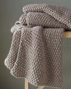 """Eileen Fisher Baby Alpaca Knit Throw.  Says here it costs 368 dollars, but looks easy enough to knit.  40"""" x 70"""" in seed stitch.  EASY PEASY"""