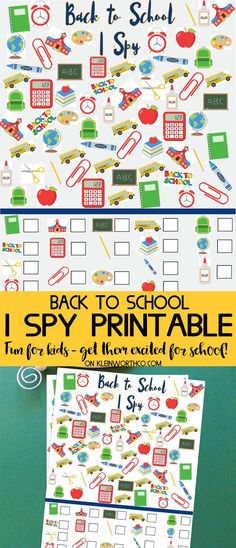 Back to School I Spy Printable - FREE printable to keep get the kids excited for back to school & learning. Fun & free fall kids activity! via @KleinworthCo