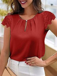 Lace-Up Cutout Sleeve Round Neck Casual Blouse - Just Shop - saias e vestidos Red Blouses, Lace Blouses, Cheap Womens Tops, Feather Dress, Autumn Fashion Casual, Casual Fall, Trendy Tops, Lace Sleeves, Types Of Sleeves
