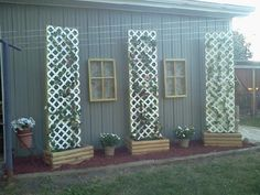 Raised bed with trellis for vines Outdoor Life, Outdoor Rooms, Outdoor Ideas, Landscaping Ideas, Garden Landscaping, Barn Layout, Building A Pole Barn, Backyard Privacy, Pole Barns
