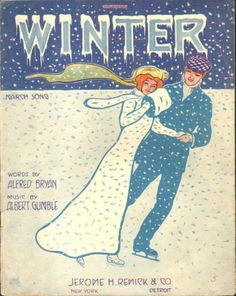 Winter 1910 BRYAN & GUMBLE March ADORABLE Ice Skating Cover Sheet Music!