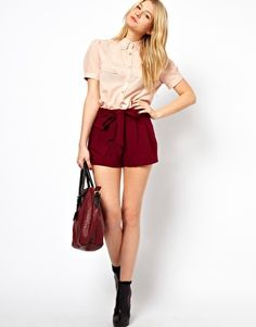 Enlarge ASOS Belted Shorts With Turn Up