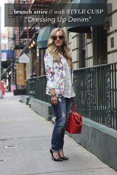 Distressed denim + floral blazer // Style Cusp