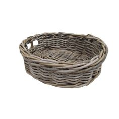 Grey & Buff Rattan Oval Storage Baskets - Empty Hamper Baskets