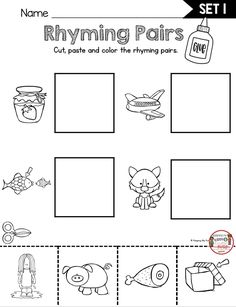 FREEBIE RHYMING ACTIVITIES kindergarten first grade worksheest printable