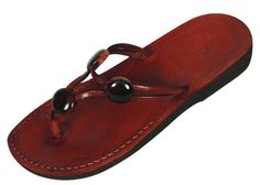 edeae150d83 Beaded Y-Strap Leather Flip-Flop Handmade Biblical Sandals - Miriam