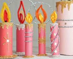 Christmas Candles, Diy Christmas Ornaments, Christmas Decorations, Candle Decorations, Christmas Paper Crafts, Christmas Projects, Holiday Crafts, Retro Christmas, Christmas Holidays