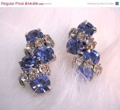 ON SALE Vintage Earrings Blue and Clear by wallstantiques on Etsy
