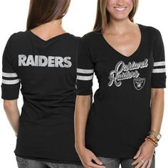 NFL '47 Brand Oakland Raiders Women's Showtime Slim Fit V-Neck T ...