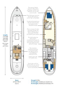 Dutch Barge Voyager Widebeam Canal Boat Floor Plans | Aqualine