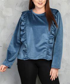 Look at this #zulilyfind! Blue Ruffle Long-Sleeve Scoop Neck Top #zulilyfinds