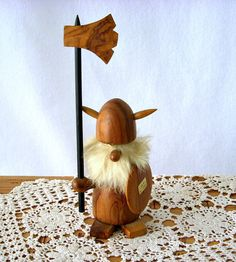 SOLD: Mid Century Danish Wood Viking with Fur Beard by GSaleHunter, $30.00