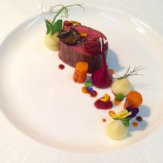 Today at work @courgetterestaurant Venison, truffle mash, pickled sour cherries, pickled beetroot and dutch carrots.