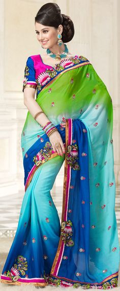 #Multicolor Faux #Georgette #Saree with Blouse | @ $149.52