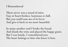 I Remembered - Sara Teasdale