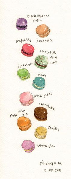 Pink macaroons, Macaroons and Illustrations