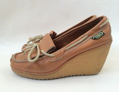 Vintage Tan Leather Wedge Shoes 9 by Baxtervintage on Etsy