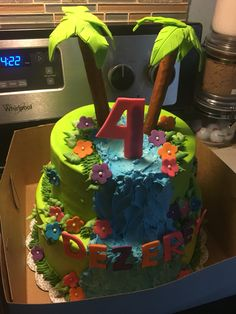 Dezerey 4th Bday. Waterfall cake made by Patsy's sweet shoppe in West Allis WI.