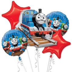 5 Piece Thomas the Train Balloon Bouquet Foil Party Decorating Supplies by TheBalloonBox on Etsy https://www.etsy.com/listing/273177266/5-piece-thomas-the-train-balloon-bouquet