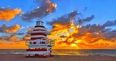 Fire bursting sunrise over lifeguard stand at Miami Beach South Beach Miami, West Palm Beach, Sunset Beach, Ocean Beach, Key Biscayne Florida, Places Around The World, Around The Worlds, Lifeguard, Travel Pictures