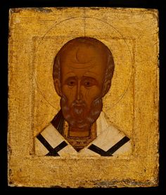 Saint Nicholas, ca. 1500 Russian Byzantine Style Russia, Novgorod School Tempera and gold leaf on wood 13 1/8 × 11 1/8 × 7/8 in. (33.3 × 28.3 × 2.2 cm) Painting 1985-057.45 DJ