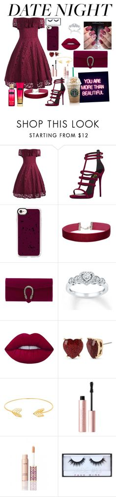 """""""Rebel Date Night"""" by kayleerae-hoffman ❤ liked on Polyvore featuring Casetify, Miss Selfridge, Gucci, GALA, Lime Crime, Betsey Johnson, Lord & Taylor, Too Faced Cosmetics, tarte and Huda Beauty"""