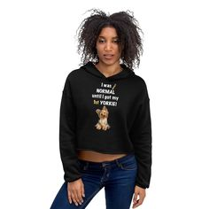 A new short hoodie for women Yorkshire Terrier mom and parent from our collection, Almost normal.