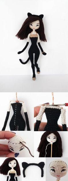 Crochet Gratis, Crochet Amigurumi Free Patterns, Crochet Doll Pattern, Easy Crochet Patterns, Crochet Dolls, Crochet Stitches, Crochet Tutorial, Tutorial Amigurumi, Love Crochet