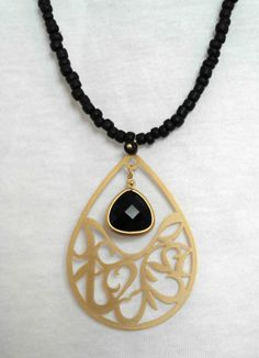 Long Black Necklace with Gold Filigree by lizaslittlethings, $25.00