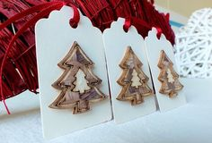 Handmade Christmas Gift Tags, Pack of 3 Large, 3D Wooden Tree, Xmas Gift Tags £3.95