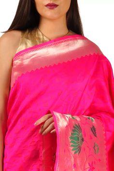 Rani Pink Gold Zari Paithani Banarasi Border Pure Silk Saree