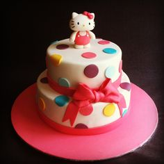 Hello Kitty two tiered chocolate mud cake, hand made fondant Hello Kitty - Cakes by Lou
