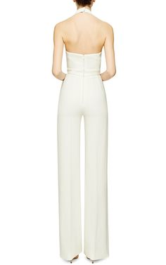 Wool-Crepe Halterneck Jumpsuit by Emilia Wickstead - Moda Operandi All White Outfit, White Outfits, Anna Dress, Emilia Wickstead, White Jumpsuit, Elegant Outfit, Celebrity Weddings, Classy, Womens Fashion