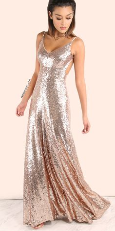 Backless Sequin Cami Maxi Dress ROSE GOLD