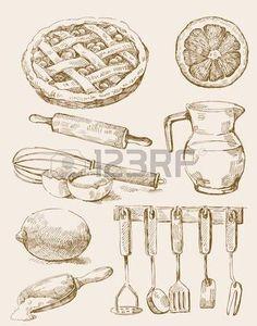 retro kitchen graphics: kitchen background Illustration