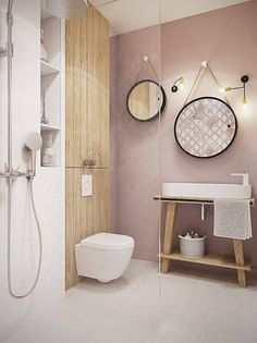 Pink for our modern black & white bathroom