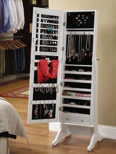 Amoire Jewelry Mirror Organizer Storage Box Mirrored Cabinet with Stand Mirror Jewellery Cabinet, Jewelry Mirror, Jewelry Stand, Mirror Cabinets, Wooden Cabinets, Safe Storage, Storage Spaces, Standing Jewelry Box, Mirror Organiser