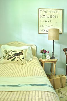 Restful guest room makeover from shopping your home - Jennifer Rizzo Bedroom Design On A Budget, Modern Bedroom Design, Master Bedroom Design, Bed Design, Guest Room Decor, Diy Home Decor Bedroom, Bedroom Ideas, Bedroom With Bath, Pretty Bedroom