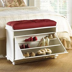 Shoe Storage Bench ($170) ❤ liked on Polyvore featuring home, furniture, benches, shoes shelves, round shelves, tufted bench, storage shelves y shoe storage shelf
