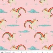 Riley Blake - Unicorns & Rainbows Main Pink