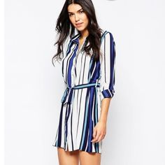 Asos Striped Shirt Dress Bought on Asos.com - new with tag. Only worn to model ASOS Dresses