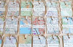 Vintage Travel Wedding Inspiration, name tags, attach to thank you gifts, tie on wine glasses, make it a destination wedding and use a map of the destination you're going to! destinationweddings.trave  #allbridesallowed  #alltravelersallowed