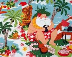Tropical Christmas Placemats, Santa on the Beach Placemants, Hawaiian Christmas Placemants, Mele Kalikimaka, Handmade by AnnieKDesigns