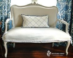 drop cloth slipcover tutorial videos from Miss Mustard Seed by eddie