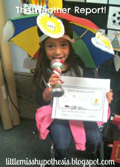 Weather Reporter Hat, microphone, and report.  Great for encouraging oral language development and science!